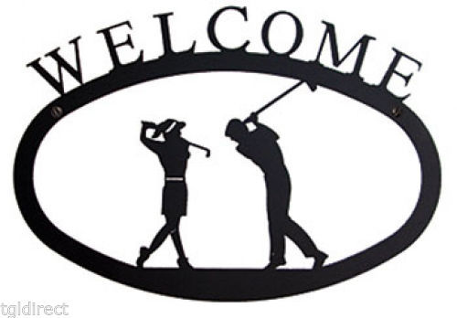 Primary image for Wrought Iron Welcome Sign Two Golfers Silhouette Large Outdoor Plaque Home Decor