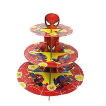 Spider-Man Cartone Cupcake Supporto 3 Piani Torre Rotonda Bambini Comple... - $20.48
