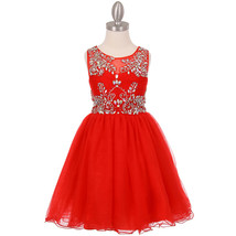 Red Unique Design AB Stone Bodice Open Back Tulle Wired Skirt Flower Girl Dress - $90.95+