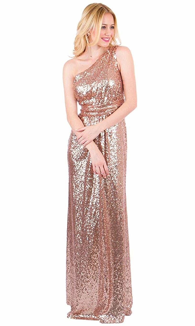 Women's One Shoulder Sequined Bridesmaid Dresses Long Pleated Wedding Party Gown