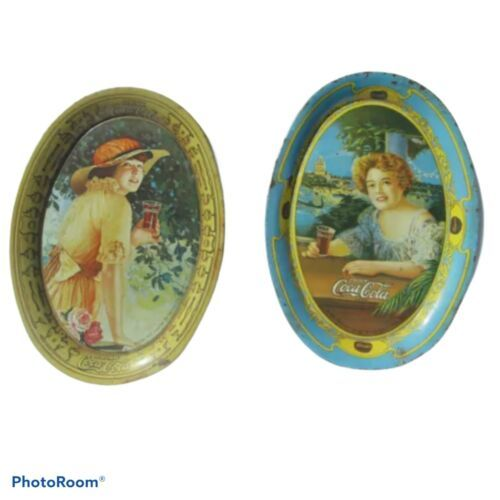 Primary image for Vintage 1973 Coca-Cola Small Tin Tray Collectible 2 Pack
