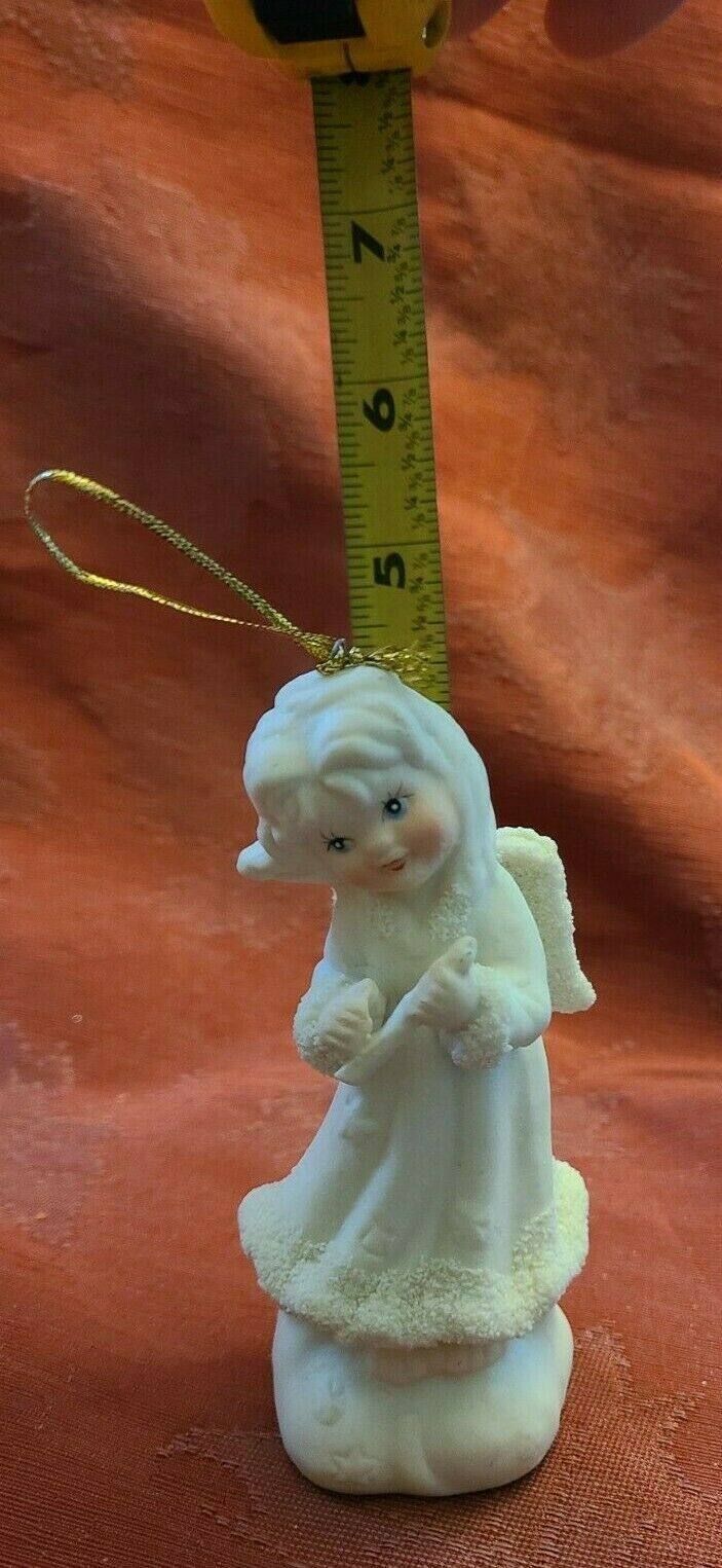 Vintage Angel Playing Flute Ornament 5 Inches Bisque Porcelain