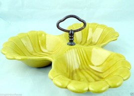 California Pottery Harvest Gold Yellow Tri Section Serving Dish USA Numb... - $7.87