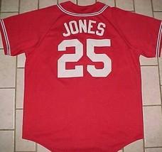 Andrew Jones #25 Atlanta Braves MLB NL Majestic Red Blue White Tomahawk Jersey - $69.29
