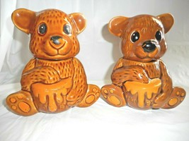 Teddy Bear Honey & Jam Jars Canisters with Honey Dipper & Lids Houston F... - $24.74