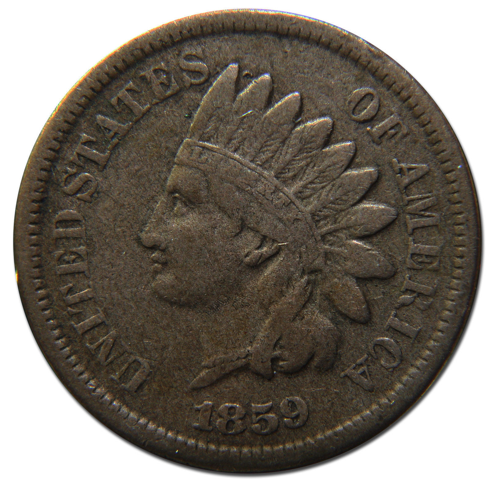 1859 One Cent Indian Head Penny Coin Lot# MZ 3111
