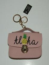 Pink Aloha Key Chain Pineapple Mini Purse New Holds ID Money Keyring Cli... - $9.69