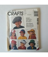 McCall's Crafts 6210 Sewing Pattern Childrens Hats Sailor Rain Sun Baseb... - $8.90