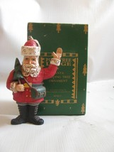 Lodge Santa Ornament Midwest of Cannon Falls Santa with fir tree - $13.81