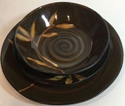 Pier 1 Imports DAKARA Brown 3 Pc. Place Setting Hand Painted Stoneware S... - $44.55