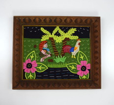 Vintage Patchwork Jungle Chicken Carved Wood Frame Wall Tapestry Art Dec... - $34.64