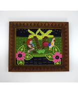 Vintage Patchwork Jungle Chicken Carved Wood Frame Wall Tapestry Art Dec... - $34.64