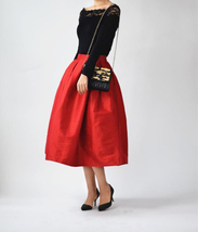 Women Red Black A-line Pleated Taffeta Skirt Ruffle Plus Size Pleated Skirt  image 1