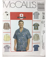 McCalls 2149 Men's Buttondown Front Shirt Sewing Pattern Sizes 42, 44 - $12.00