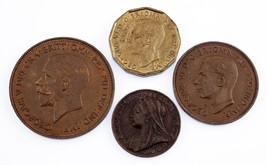Lot of 4 Great Britain Coins (1900 - 1944) Farting - 3 Pence XF - AU - $39.59