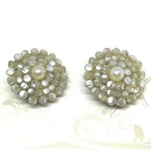 Vintage 50s Mother of Pearl Cluster Clip On Earrings - $14.79