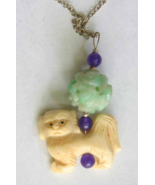 Judy Strobel Antique Carved Bone & Jade  Pekinese Dog Pendant Necklace - $39.95
