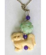 Judy Strobel Antique Carved Bone & Jade  Pekinese Dog Pendant Necklace - $39.95