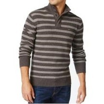 Tommy Hilfiger Mens Sweater Sz XL  Dark Ash Grey Striped Mock-Neck Pullo... - $894,15 MXN