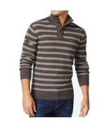 Tommy Hilfiger Mens Sweater Sz XL  Dark Ash Grey Striped Mock-Neck Pullo... - $908,75 MXN