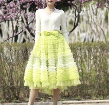 Yellow Midi Layered Tulle Skirt High Waisted Princess Tulle Skirt Holiday Outfit image 2