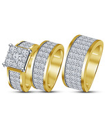 14k Yellow Gold Plated 925 Sterling Silver Mens Ladies Engagement Trio Ring Set - $159.99