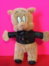Vintage Porky Pig Plush Wearing Faux Leather Jacket Stuffed Collectible ... - $5.00