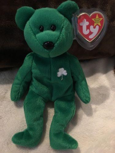 97aadd47bb7 ERIN Bear Rare Retired TY Beanie Baby with Errors 1997 w  Tag Protector  Irish
