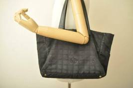 CHANEL New Travel Line Tote Bag Black CC Auth 10653 **TEAR image 12