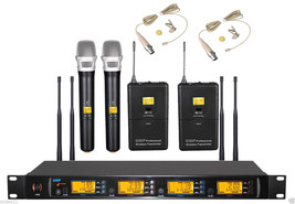 UHF Wireless 2 Handheld 2 Beige Lapel Microphone Mic System - Frequency ... - $338.58