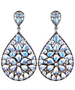 925 Sterling Silver 0.31ct Diamond Dangle Drop Earring Rainbow Moonstone... - $253.53
