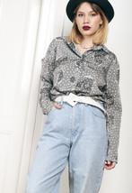 80s vintage silver polka dot blouse - $28.31