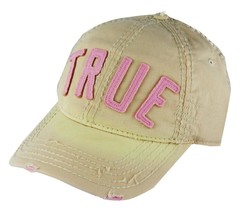 NEW TRUE RELIGION UNISEX DISTRESSED BASEBALL HAT CAP CREAM/PINK TR1770