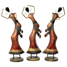 Metal Tribal Dancing Ladies Figurine Set of 3 Pcs Home Decorative Handic... - $96.95