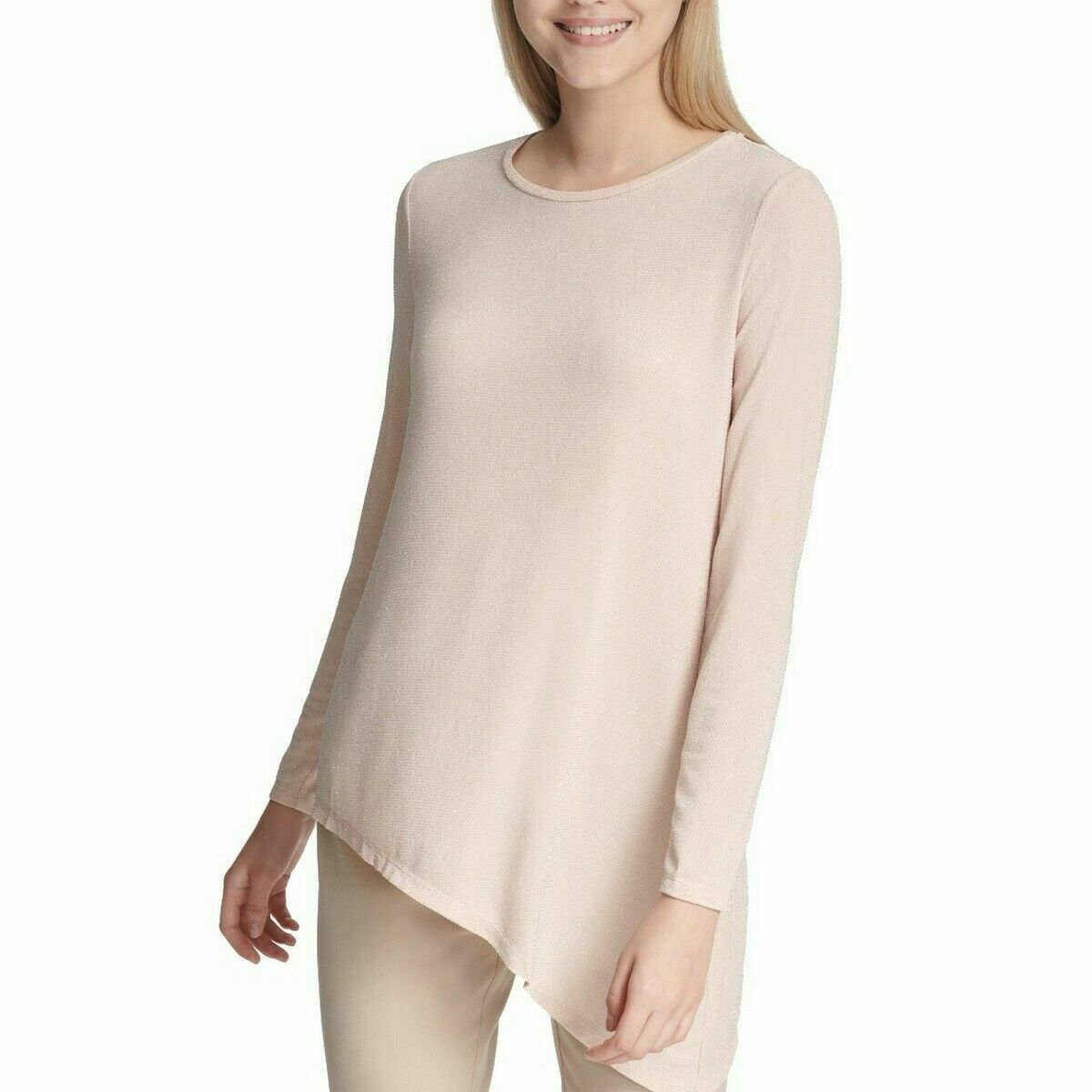 Primary image for CALVIN KLEIN Women's Shimmery Blush Asymmetrical Metallic Top Size Small $69