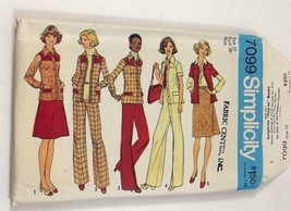 Simplicity 7099 Sewing Pattern Vintage Shirt Jacket Pants Size 12 Bust 3... - $8.99