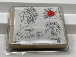 Stampin Up Send A Celebration Retired Rubber Wood Mounted Stamp Set of 4... - $19.79