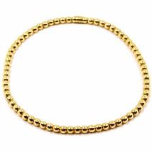 18K YELLOW GOLD BRACELET, SEMIRIGID, ELASTIC, 3 MM SMOOTH BALLS SPHERES image 1