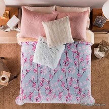 Cherry Flowers Blossom Blanket Sherpa King Bedding Decoration Grey Gift Pink Nw - $78.21