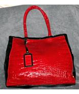 Croc Embossed Patent Leather Vinyl Satchel Tote Shopper Handbag Red / Black - $20.92