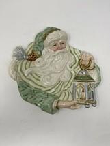 Fitz & Floyd Classics Santa Green/White with Lantern Christmas Plate Wall Decor - $24.75