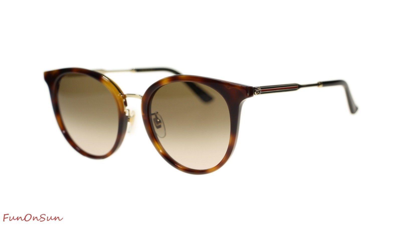 24a80659b8 Gucci Women Sunglasses GG0204S 003 Havana Brown Lens 56mm Authentic