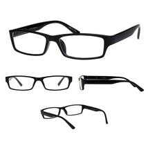 Mens 90s Classic Narrow Rectangular Black Plastic Rim Dad Eye Glasses  - $9.85
