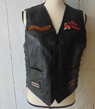 Diamond Plate Women's Leather Motorcycle Lace-Up Sides Patches SL Vest  ... - $33.66