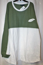 NEW WOMENS PLUS SIZE 3X OLIVE GREEN & WHITE FREE SPIRIT LONG SLEEVE T-SH... - $19.34