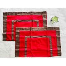 Restoration Hardware Queen Sham Set Brown Red Hotel Stripe Border Italy Cotton - $38.70