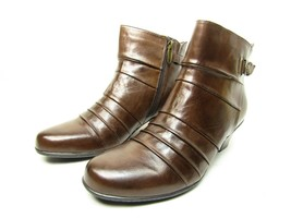 EARTH Crusade Bark Leather Zip Up Ankle Boots Size 9.5M - €41,12 EUR