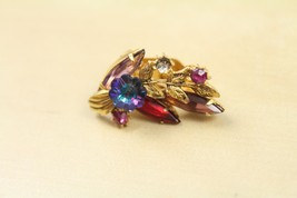 Vintage Gold Tone Purple Flower Pink Gem Rhinestone Single Clip on Earri... - $12.86
