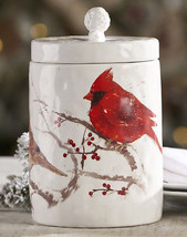 Cardinal Design Cookie Jar - Removable Lid Ceramic  NEW