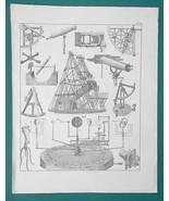 ASTRONOMY Quadrant Telescope Rowley's Orrery Megameter - 1828 Antique Print - $22.49